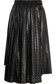 Pleated printed coated-jersey midi skirt