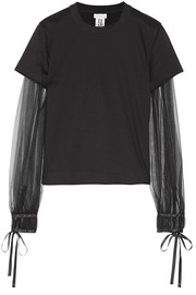Tulle-paneled cotton-jersey top
