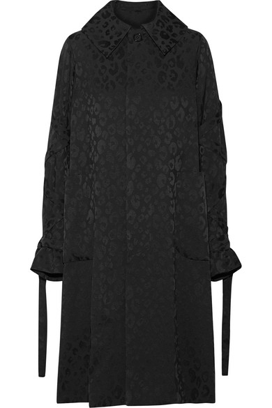 Noir Kei Ninomiya - Lace-up Leopard-jacquard Coat - Black
