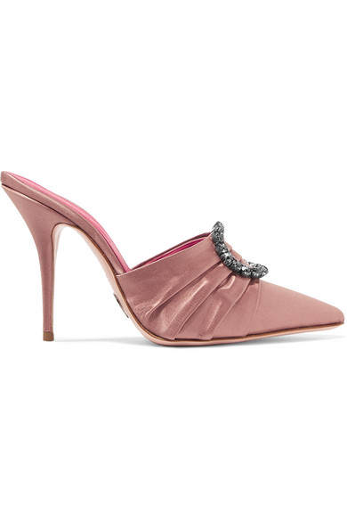 Satin Mules With Embellishment in Pink