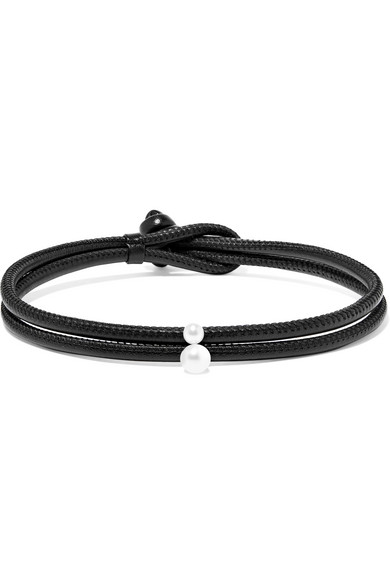Mizuki - Convertible 14-karat Gold, Leather And Pearl Necklace - Black