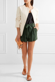 L'Agence Alex washed silk-crepe shorts