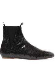 Loewe Zip sequined leather Chelsea boots