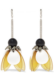 Gold-tone, resin and crystal earrings