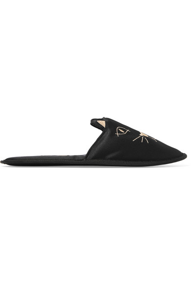 Charlotte Olympia House Cats Embroidered Satin Slippers - L Low Shipping Sale Online Original For Sale Top Quality Cheap Online Clearance Best Place KHsrZopf