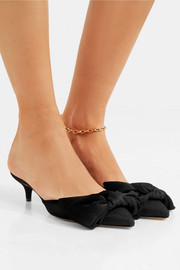 Charlotte Olympia Sophie suede-trimmed bow-embellished fishnet mules
