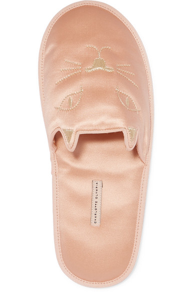 Charlotte Olympia House Cats bestickte Slippers aus Satin