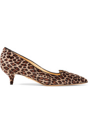 Kitty leopard-print velvet pumps