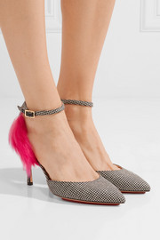Charlotte Olympia Adele shearling and leather-trimmed houndstooth wool pumps