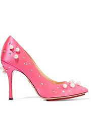 Charlotte Olympia Precious Bacall embellished satin pumps