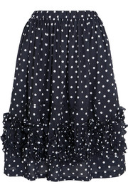 Ruffled polka-dot poplin skirt