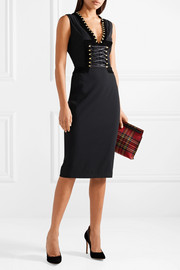 Altuzarra Adriana lace-up velvet-trimmed crepe dress