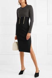 Ursula two-tone lace up-detailed knitted dress