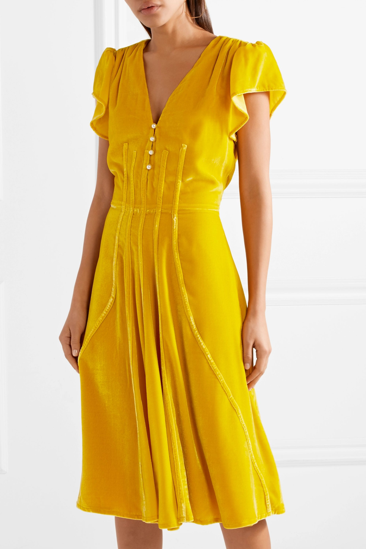 Altuzarra Camilla faux pearl-embellished velvet dress