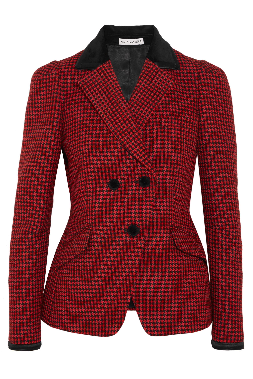 Altuzarra Paladini velvet and satin-trimmed houndstooth wool jacket