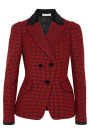 Paladini velvet and satin-trimmed houndstooth wool jacket