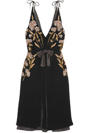 Altuzarra Lisabetta embellished embroidered velvet dress