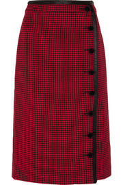 Christofor silk satin-trimmed houndstooth wool skirt