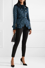 Isolde velvet and satin-trimmed silk-blend metalassé jacket