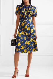 Madelena pleated floral-print silk-jacquard dress