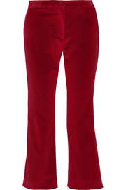 Nettle cropped velvet flared pants