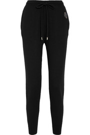 Embellished merino wool track pants