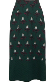 Markus Lupfer Printed stretch-crepe midi skirt
