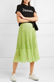 Hailey pleated polka-dot georgette midi skirt