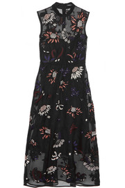 Markus Lupfer Embroidered embellished silk-organza dress