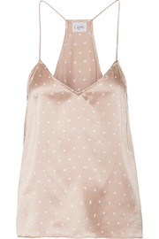 The Racer polka-dot silk-charmeuse camsiole