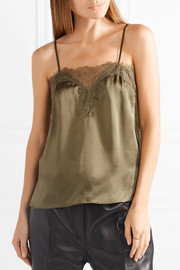 Sweetheart lace-trimmed silk-charmeuse camisole