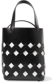 Appliquéd laser-cut leather tote