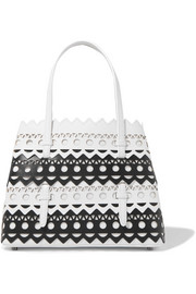 Small two-tone laser-cut leather tote