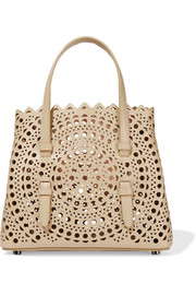 Ultra mini laser-cut leather tote