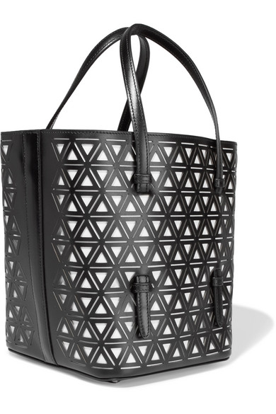 Alaïa Two-color Laser-cut Leather Tote From