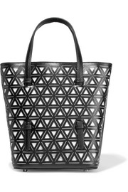 Two-tone laser-cut leather tote