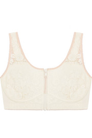 Breast cancer awareness Louise Listening cotton-blend jersey and lace soft-cup bra
