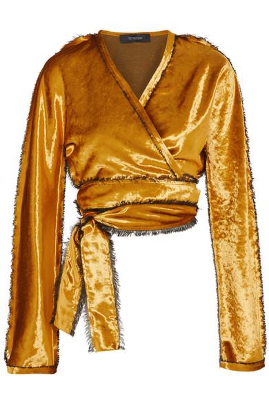 Sid Neigum - Cropped Crushed-velvet Wrap Jacket - Gold
