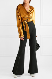 Cropped crushed-velvet wrap jacket