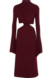 Cutout twist-front ribbed-knit midi dress