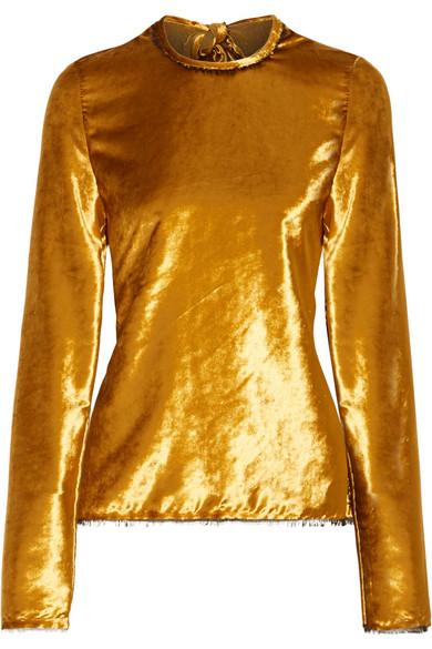 SID NEIGUM Tie-Back Crushed-Velvet Top in Gold