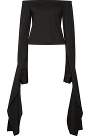 Off-the-shoulder draped stretch-jersey top