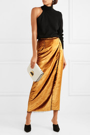Crushed-velvet wrap midi skirt