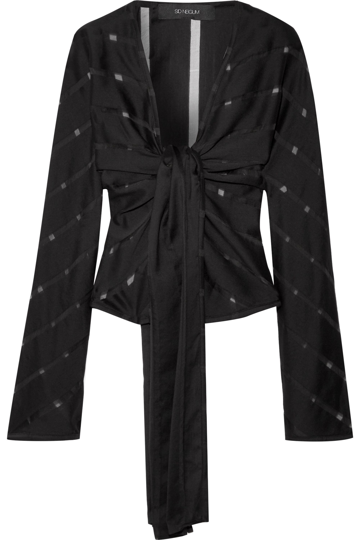 Sid Neigum Striped slub wool and silk-blend wrap top