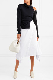 Wrap-effect stretch-cotton poplin midi skirt