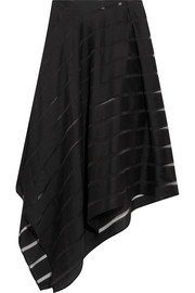 Striped slub wool and silk-blend midi skirt