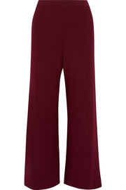 Cropped ribbed-knit wide-leg pants