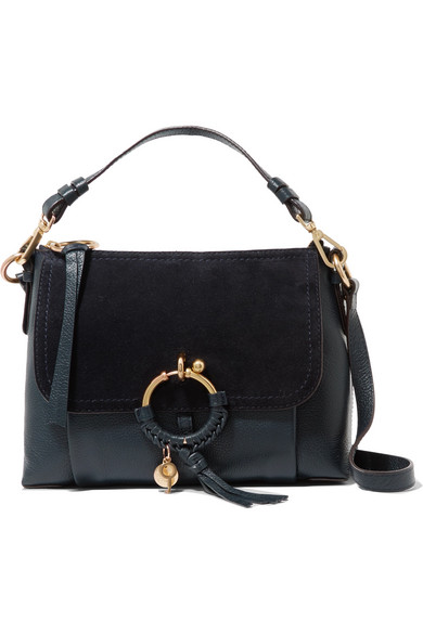 Joan Small Suede-paneled Textured-leather Shoulder Bag - Midnight blue See By Chlo Hp28mf