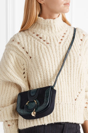 See by Chloé Hana mini snake effect-trimmed suede and leather shoulder bag