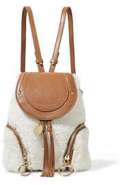 Olga small shearling and textured-leather backpack